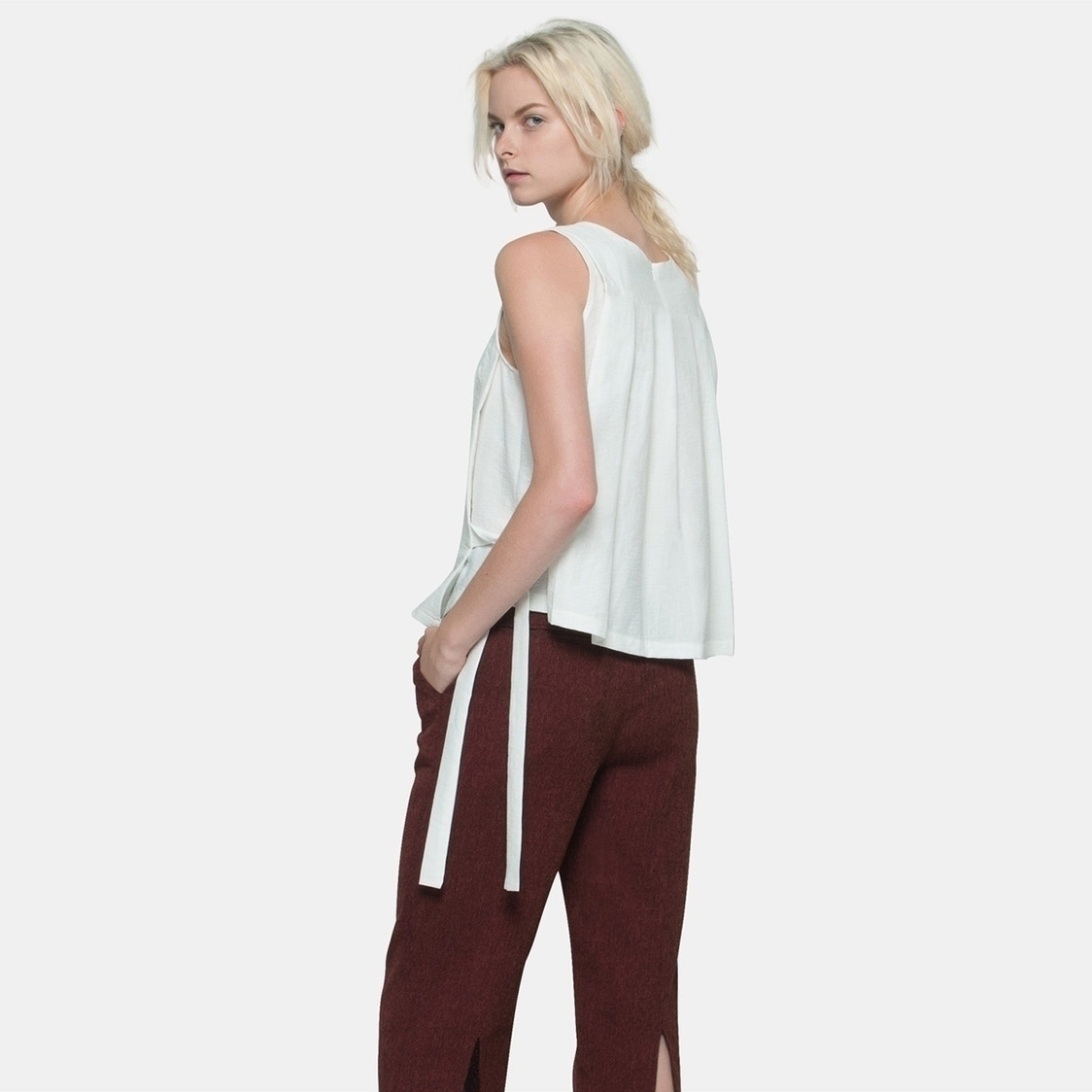 Back Pleat Side Tie Top in White