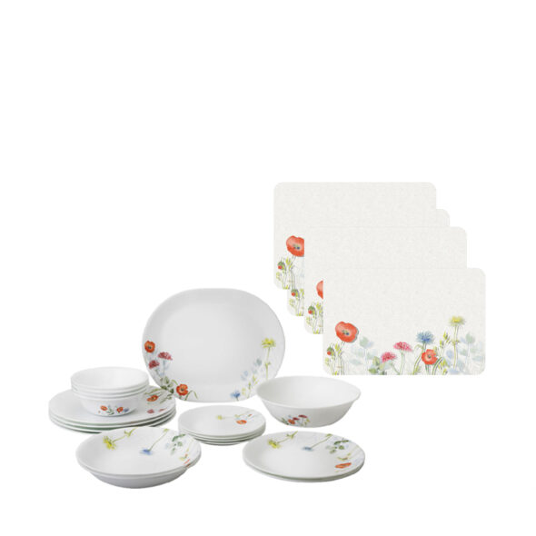 Corelle 18pc Dinner Set Design Daisy Field Free Corelle Coordinates 4pc Frosted Placemats worth 20