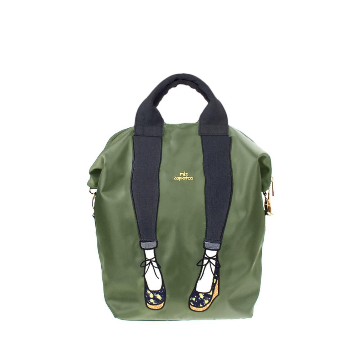 3-Way Use Jeans with Wedges Backpack Khaki