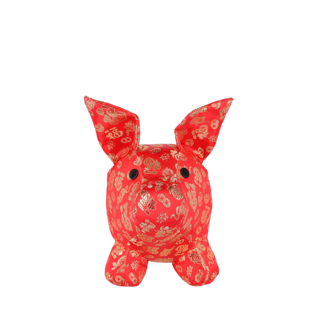 Large Mascot Pig Decoration in Red with Gold Threads
