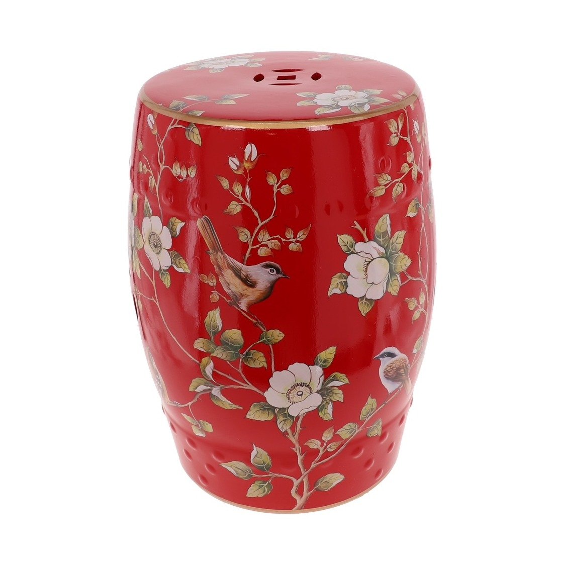 Porcelain Stool 18 in Red