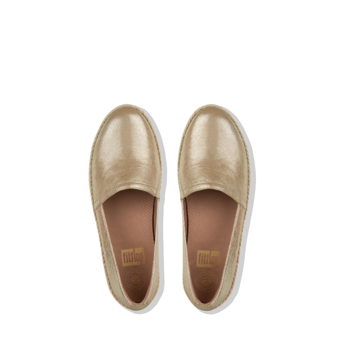 Casa Metallic Leather Loafers Gold