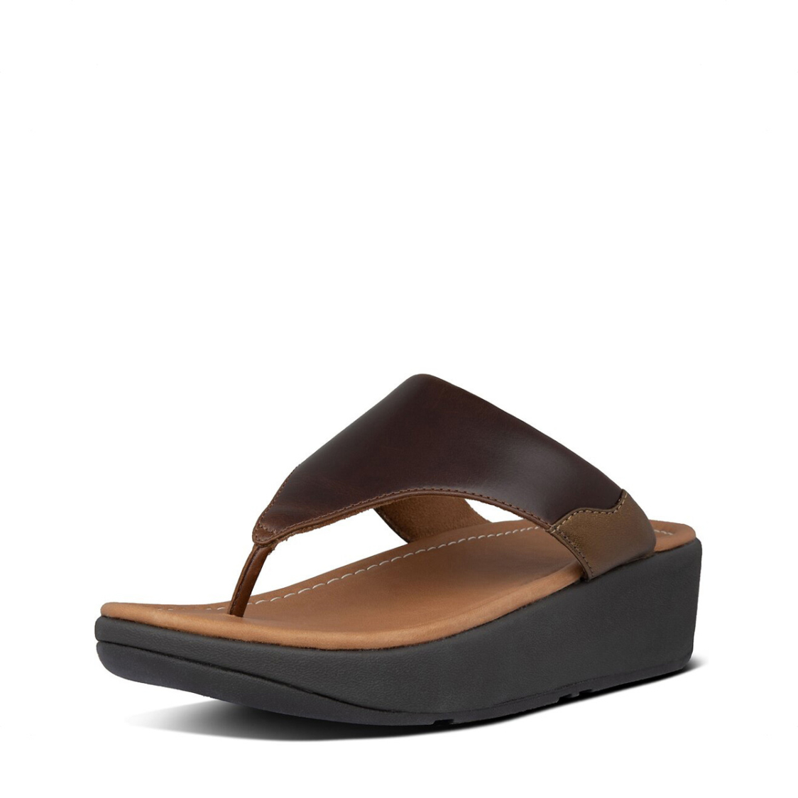 Fitflop Myla Leather Toe-Thongs Chocolate Brown Mix