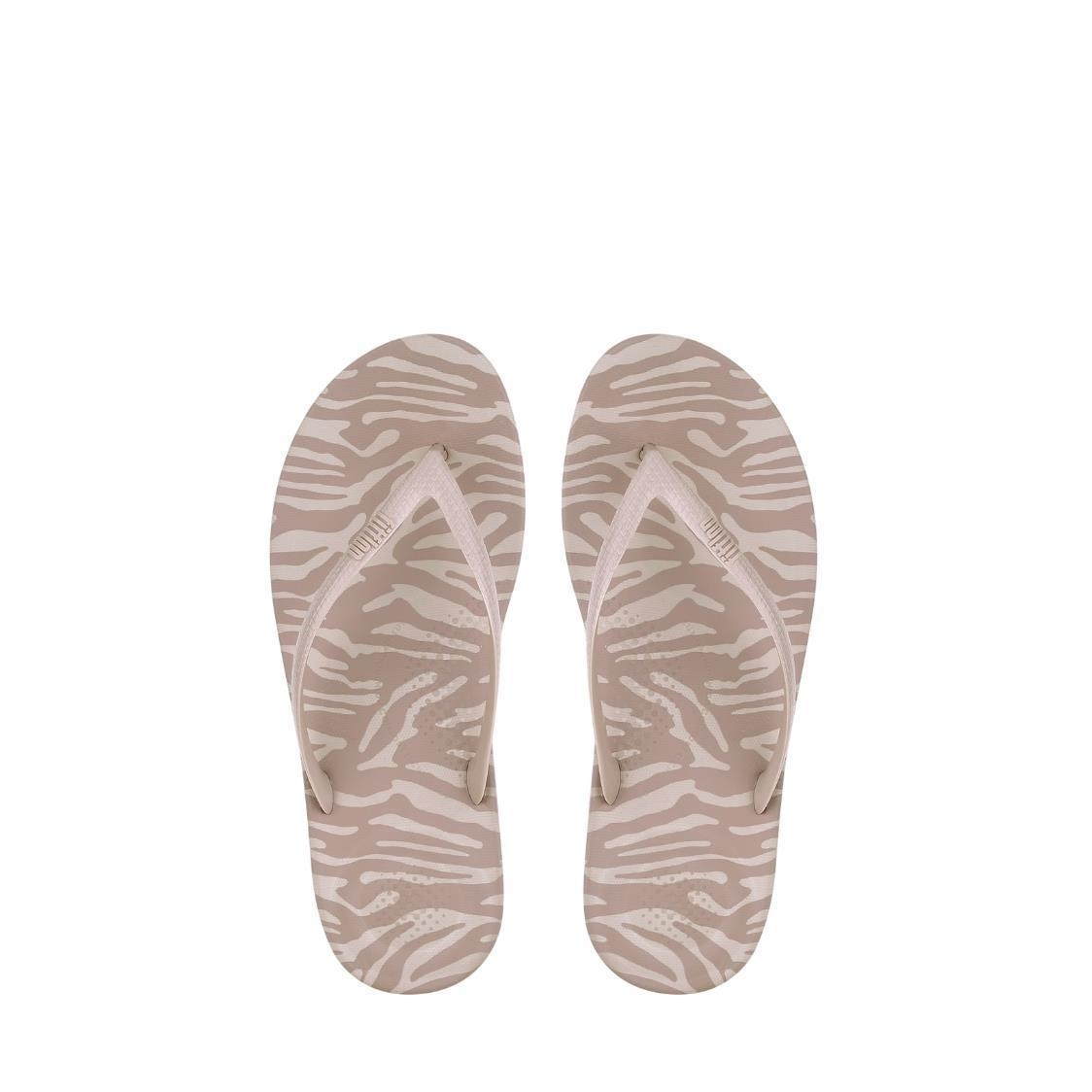 iQushion Tiger-Print Flip Flops Nude