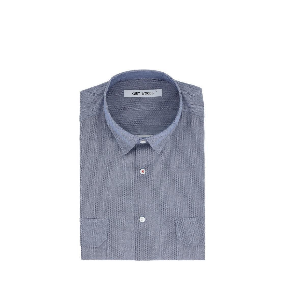 Short Sleeve Printed Slim Fit Cotton Shirt With Double Pocket