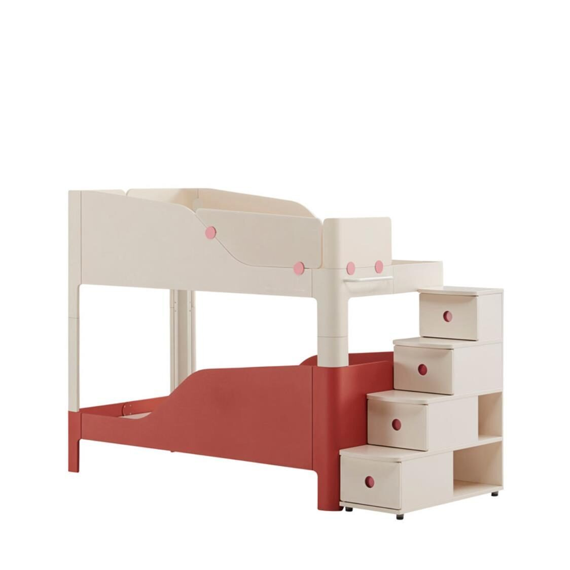 Iloom Tinkle Pop 2 Story Bed Stairs IVKR Ivory Red