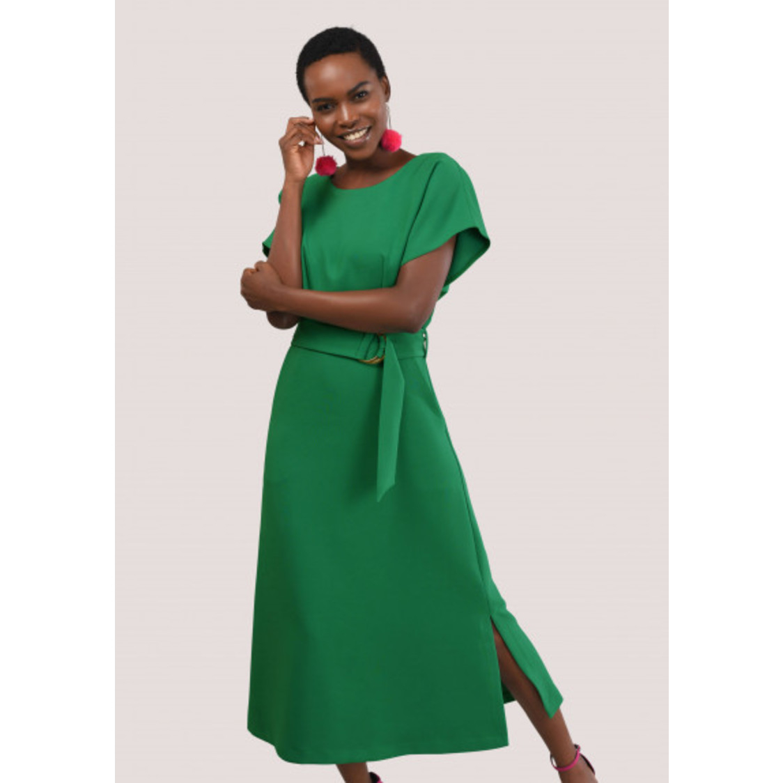 Green Belted Kimono Midi A-Line Dress