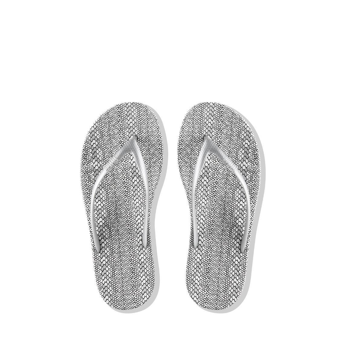 iQushion Snakeprint Ergonomic Flip-Flops Silver
