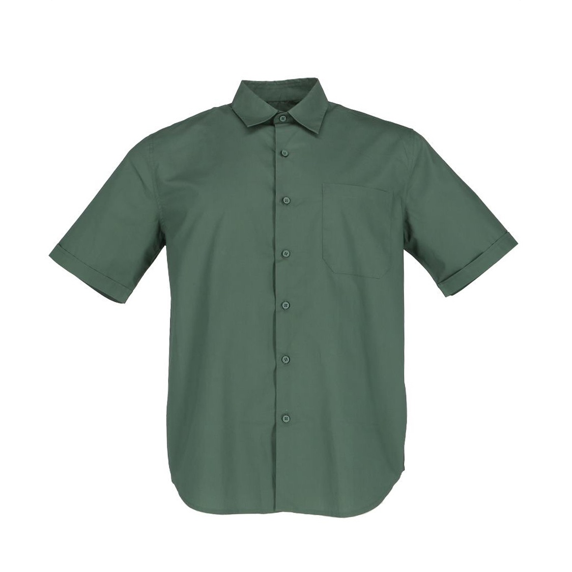 Mens Short Sleeve Shirt In Solid Dark Green