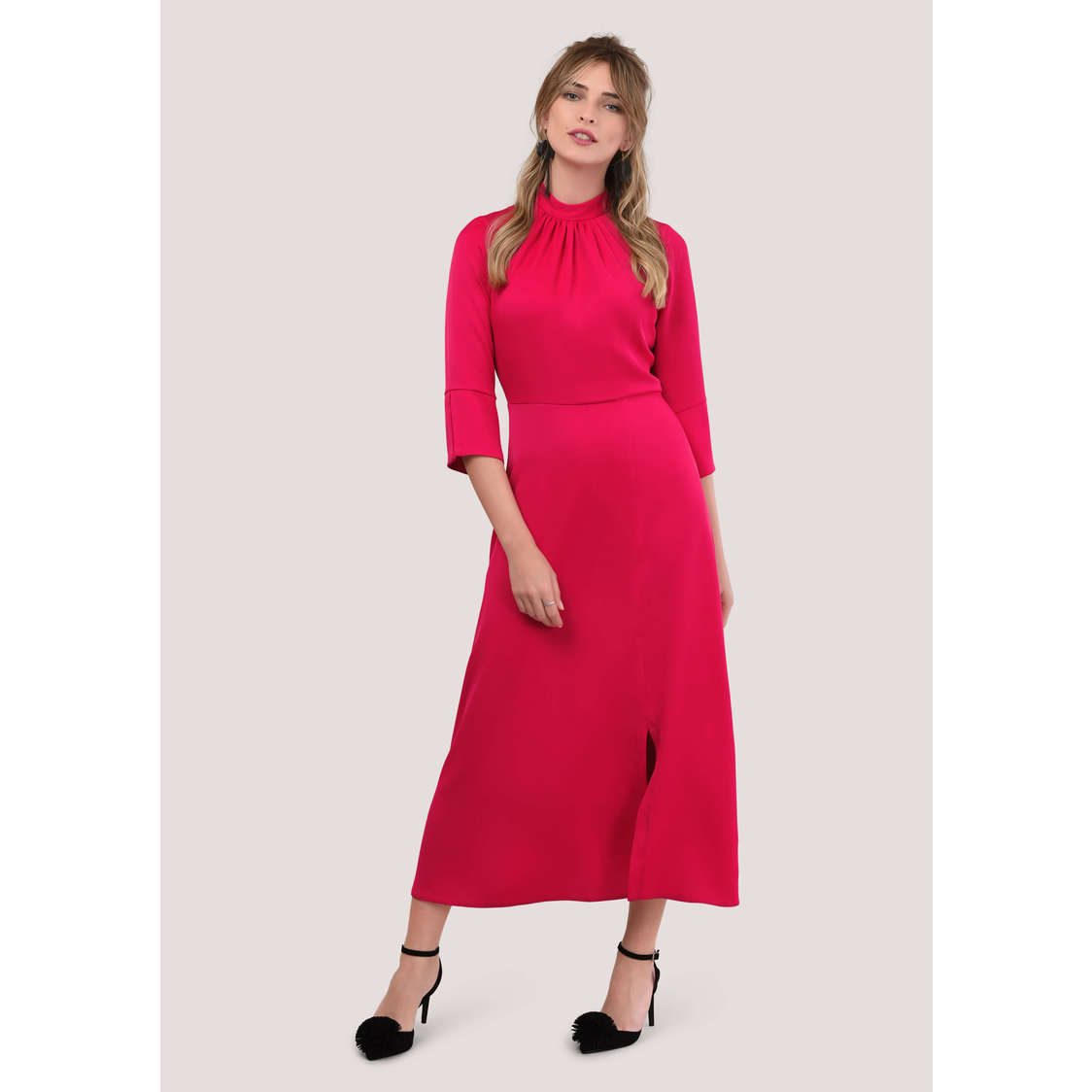 Pink High Neck Long Sleeve Front Slit Dress