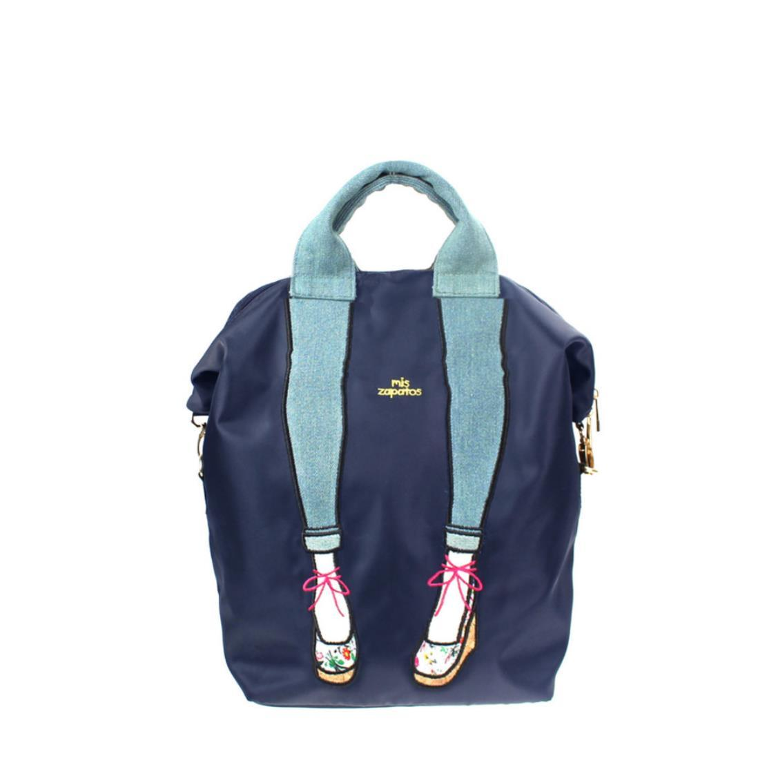 3-Way Use Jeans with Wedges Backpack Navy