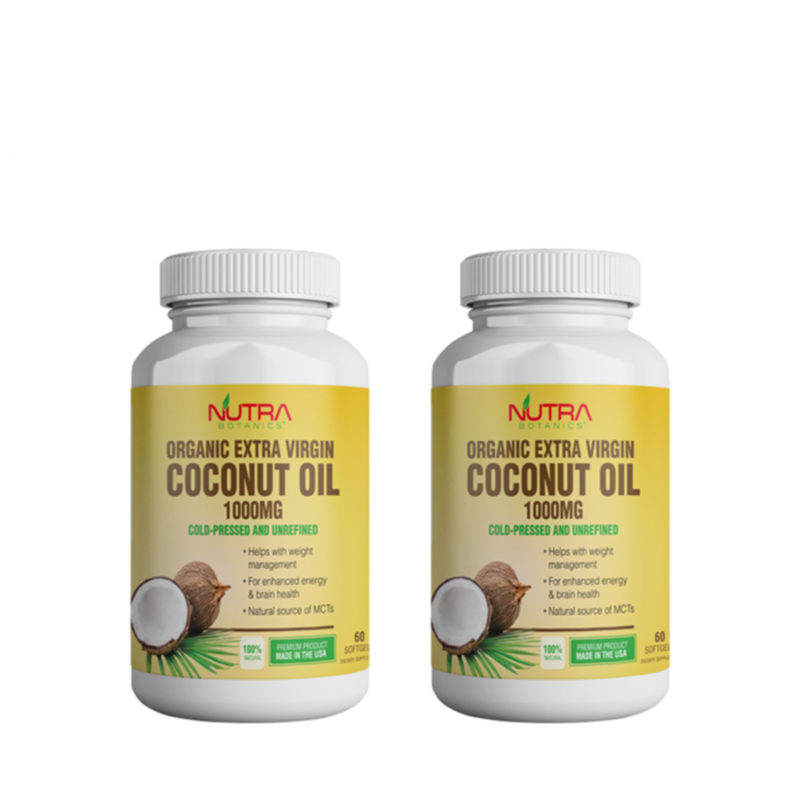 Organic Extra Virgin Coconut Oil 1000Mg 2 X 60s Twin Pack