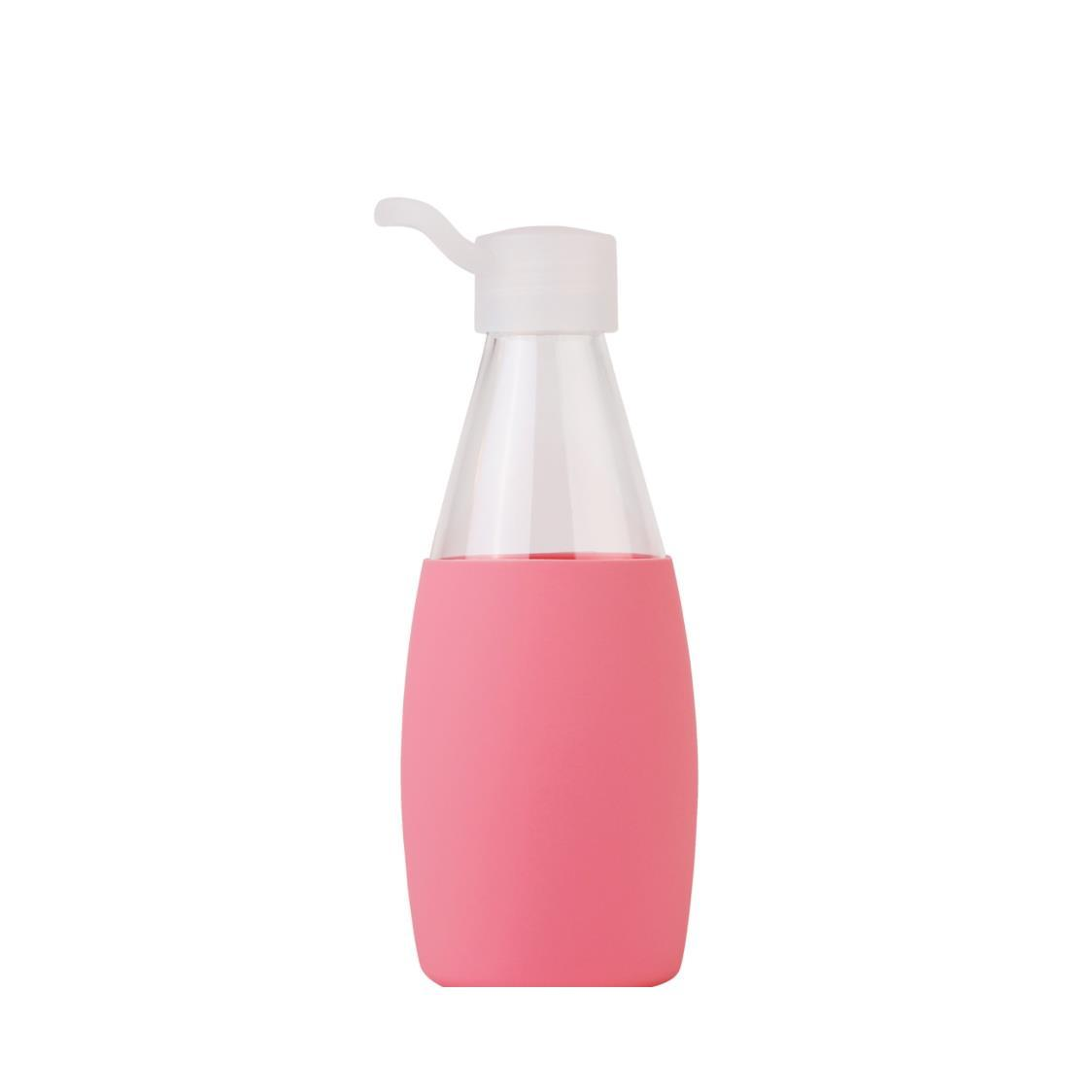 Classic Glass Water Bottle Pink 500ml