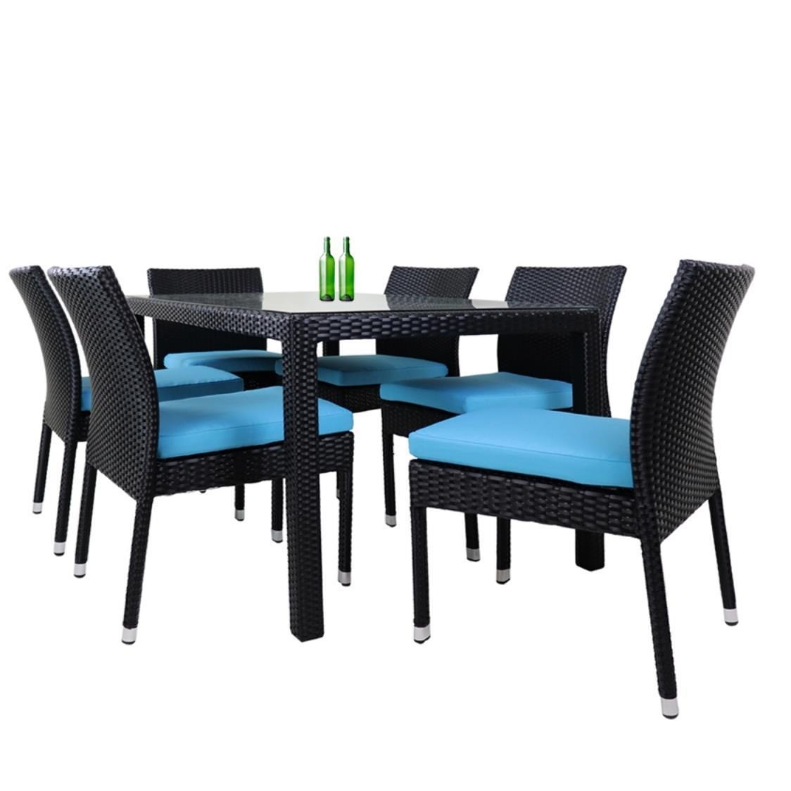 Casa 6 Chair Dining Set Blue Cushion