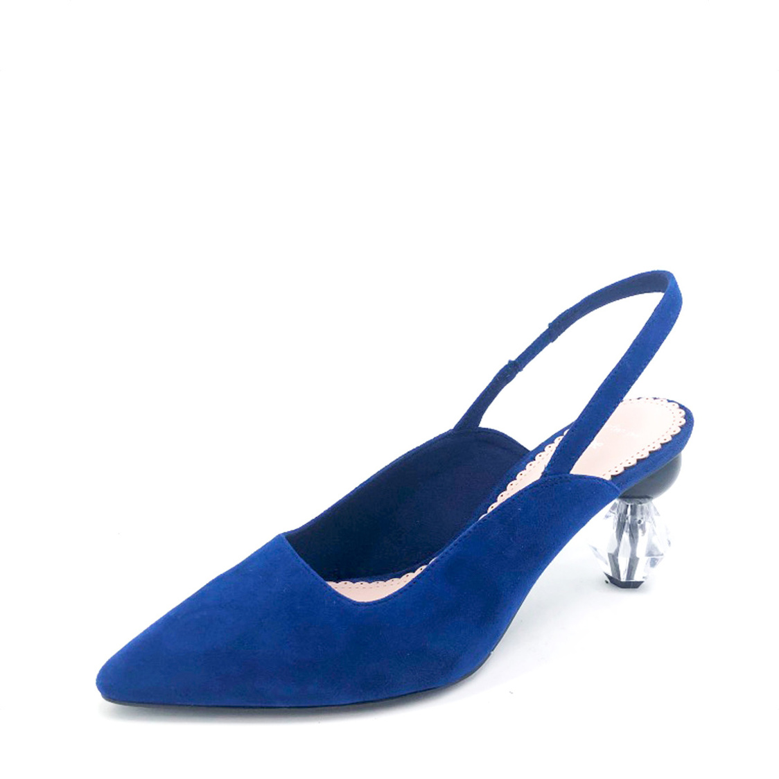 Slingback Courtshoes with Geometric Heel Blue Suede