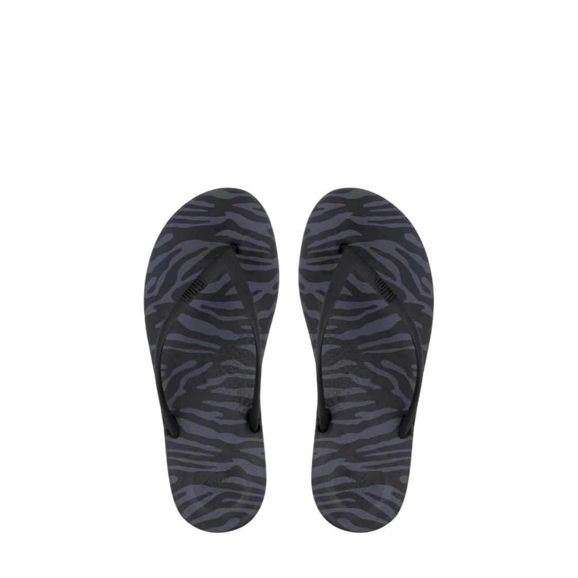 iQushion Tiger-Print Flip-Flops Charcoal