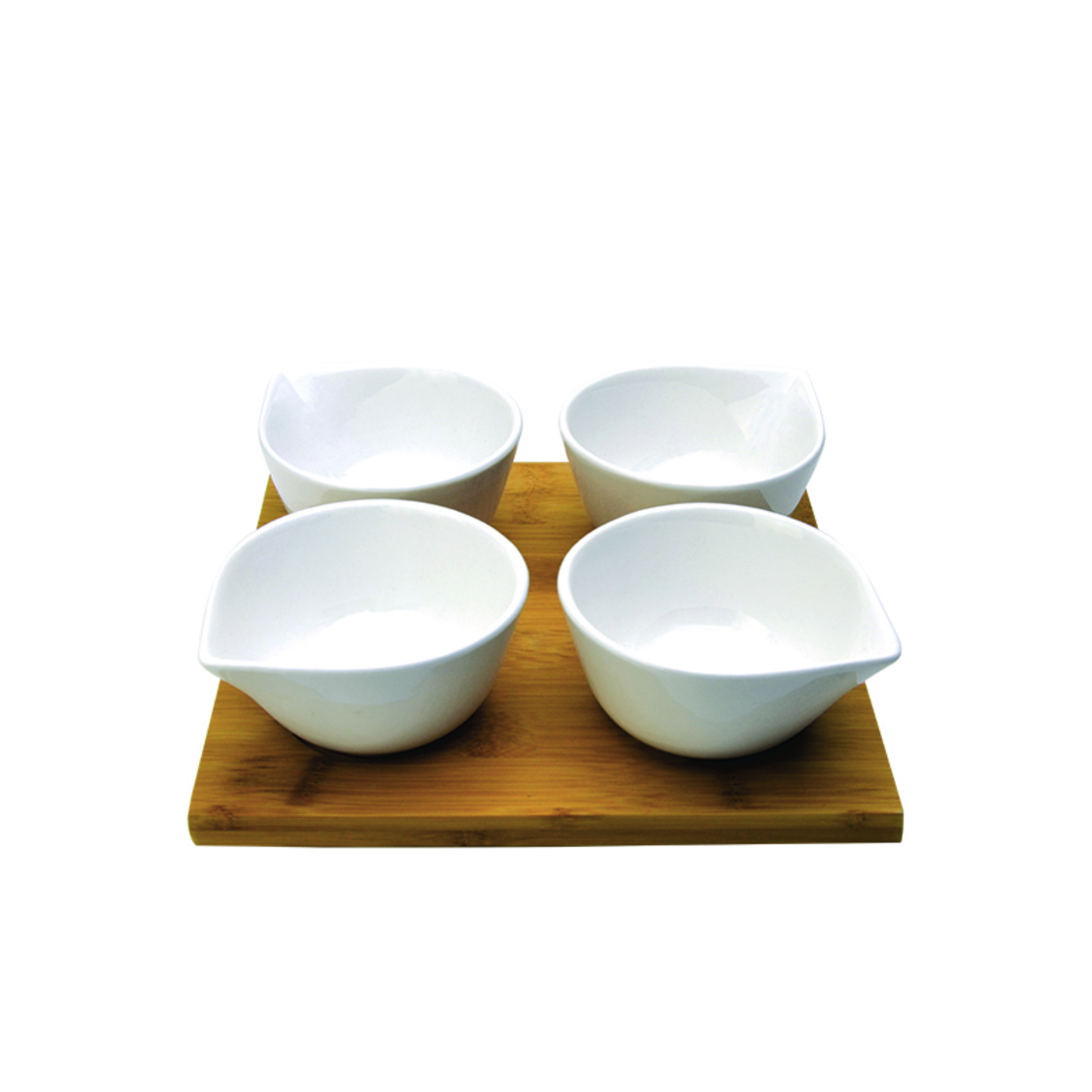 Sparkle 4 Condiment Bowls On Bamboo Tray SR-52