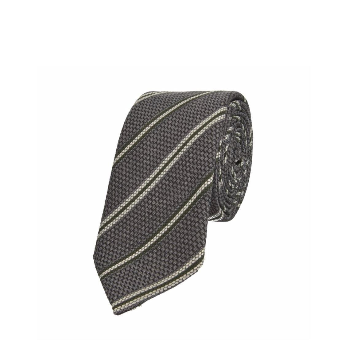 Jacquard Silk Tie in Grey Stripes