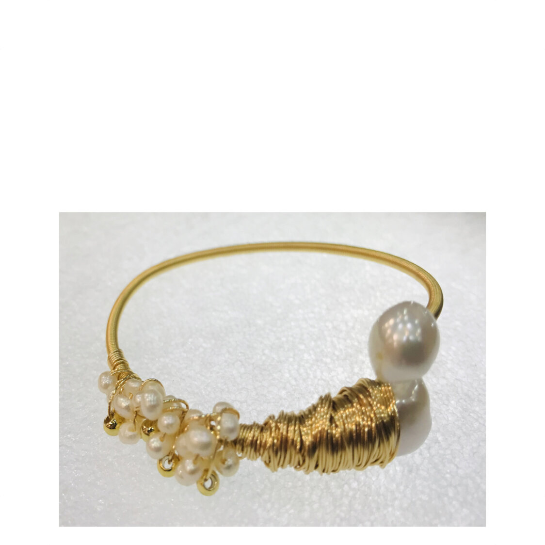 18K Gold Plated Wire With Baroque Pearls And Cluster Of Round Pearls Bangle