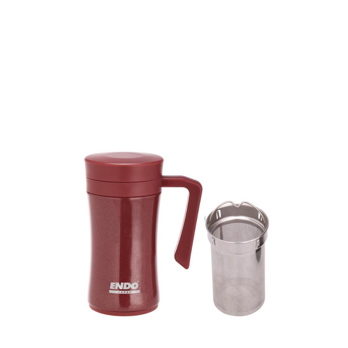 Endo 450ml Double Stainless Steel Desk Mug With Tea Strainer Burgundy CX-3001