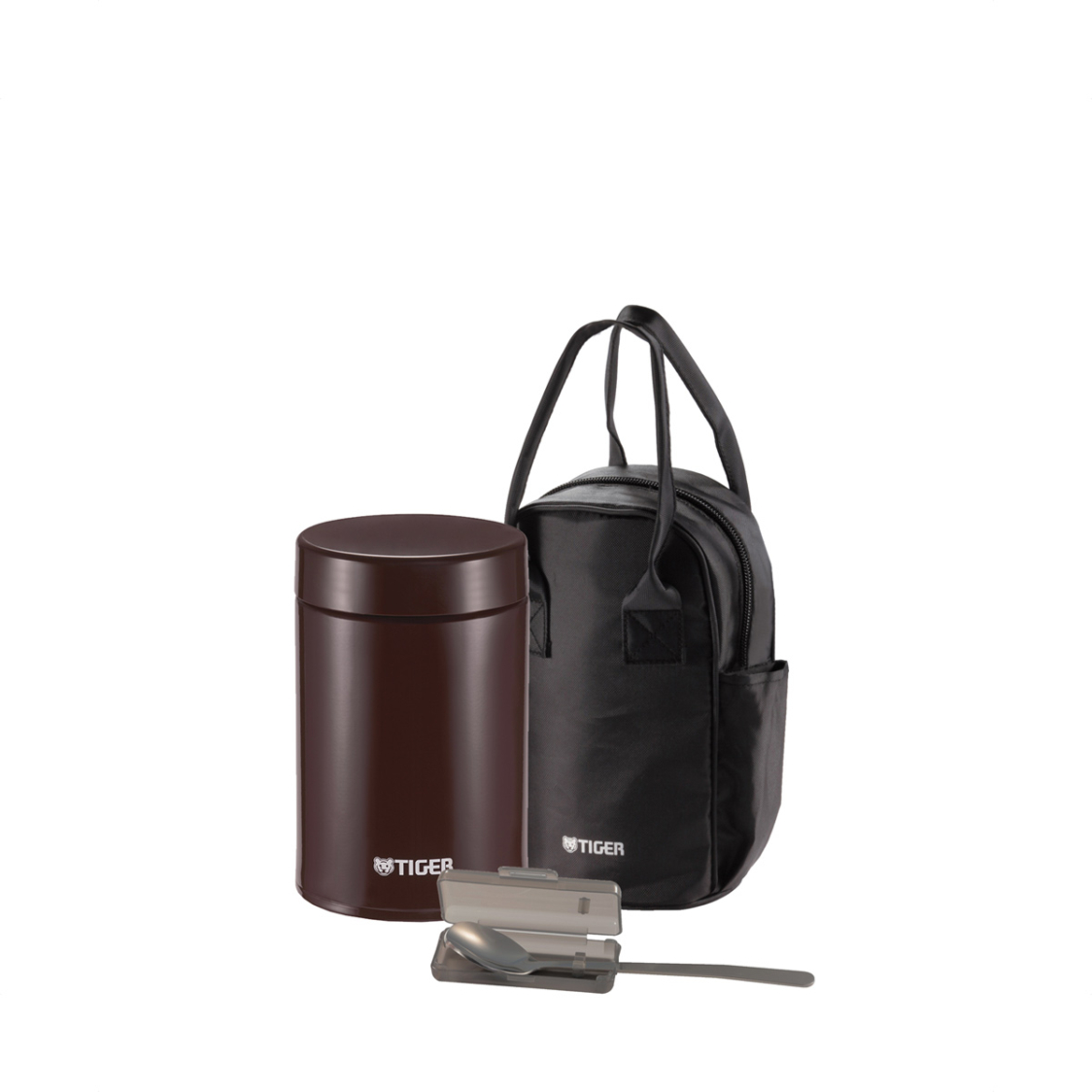 Tiger 750ml SSteel Food Jar With SSteel Spoon And Pouch Cocoa