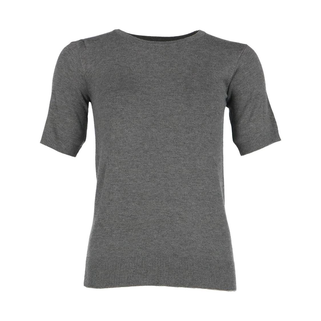 Grey Short Sleeve Knitted Top
