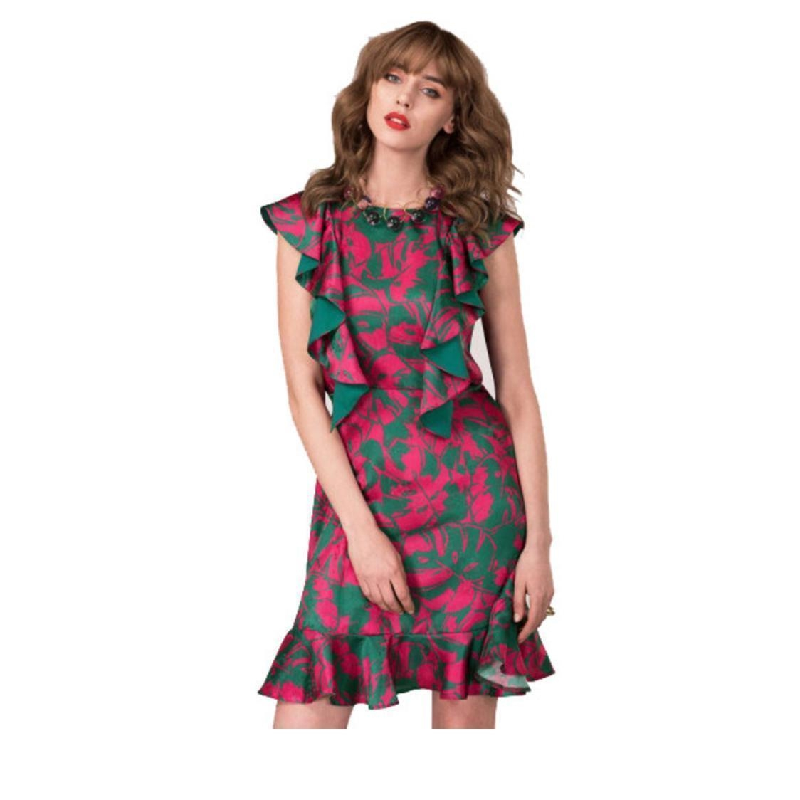 Tropical Floral Frill Dress Pink