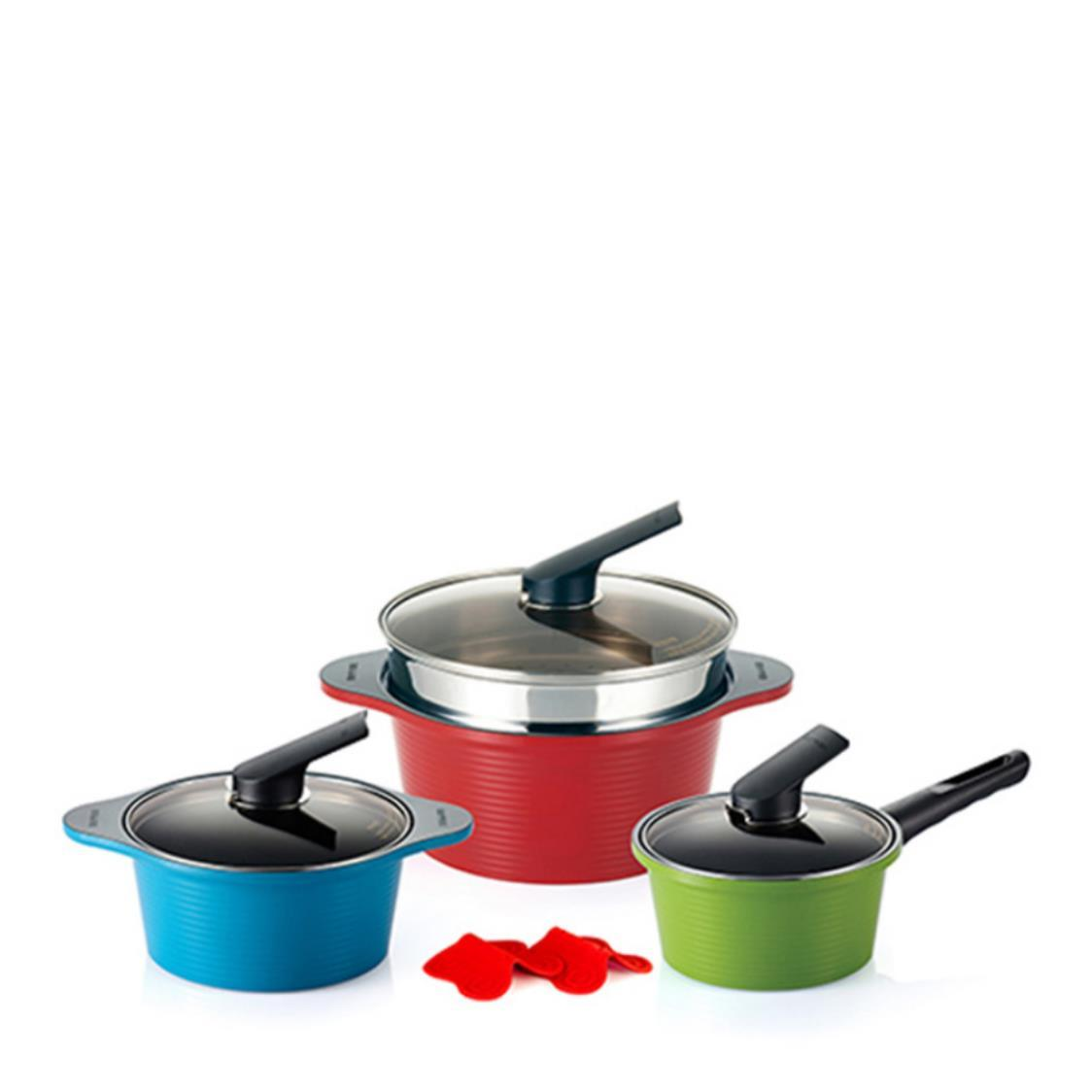 IH Alumite 3pc Die Cast High Pure Ceramic Pots Steamer Set