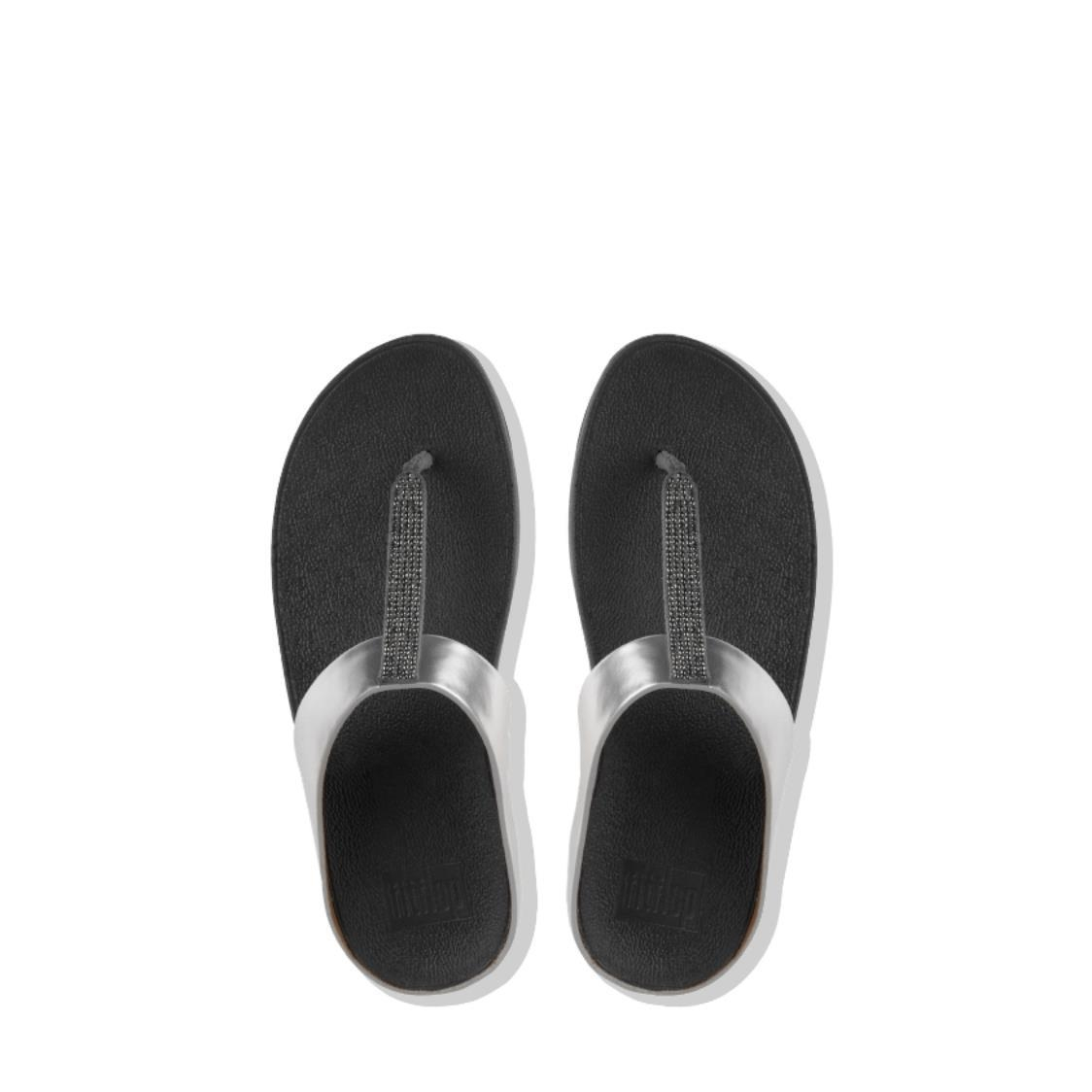 Fino Crystal Toe-Thong Sandals Pewter