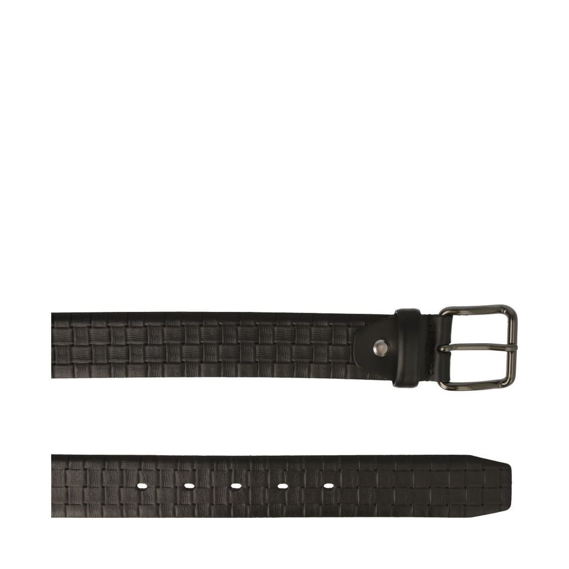 Leather Belt In Black Textured