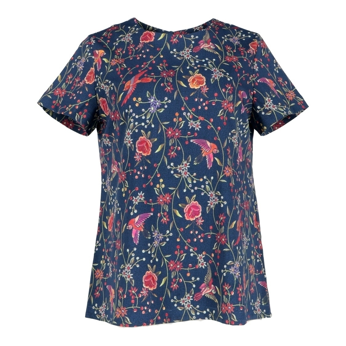 Short Sleeve Birds Printed Top