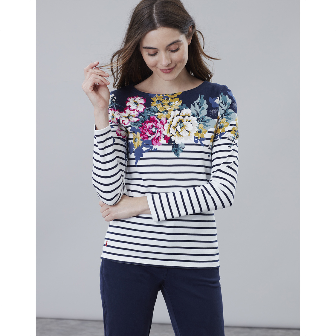 Harbour Print Long Sleeve Jersey Top Anniversary Border Floral
