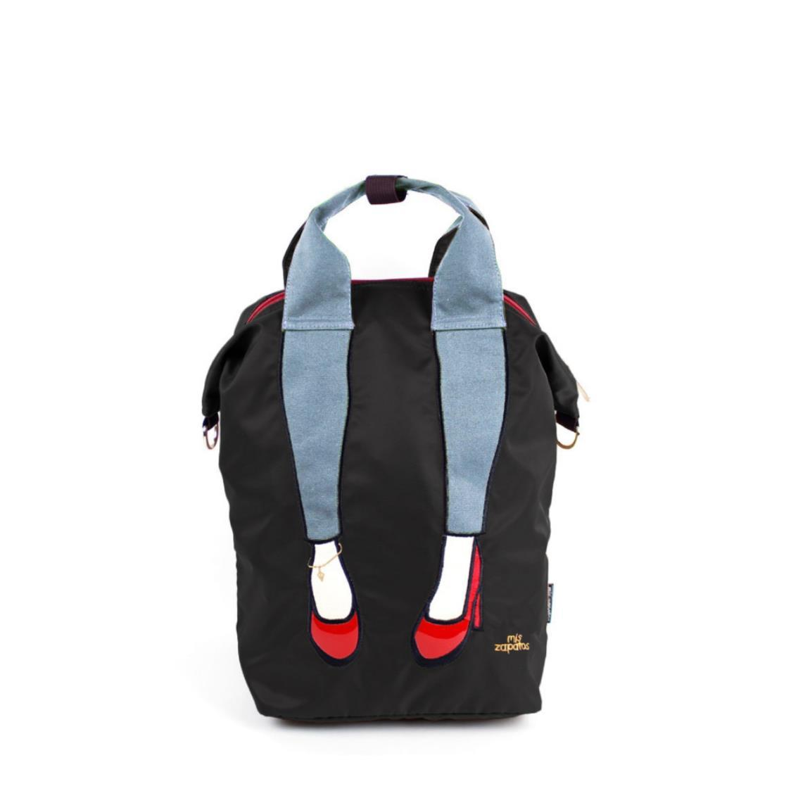 3-Way Use Jeans with High Heels Backpack Black