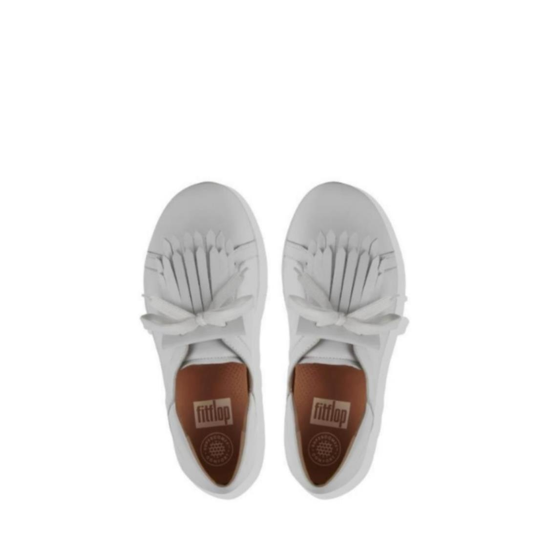 F-Sporty II Leather Lace Up Fringe Sneakers White