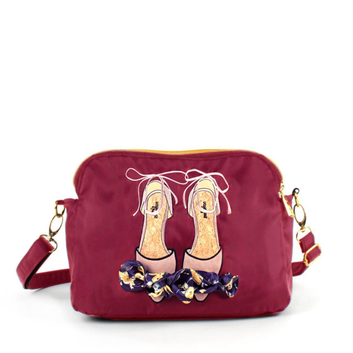 2-Way Use Ladies Shoes with Floral Ribbon Slingbag Wine