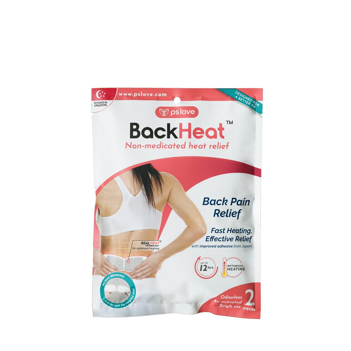 BackHeat Back Pain Relief Patch 2s