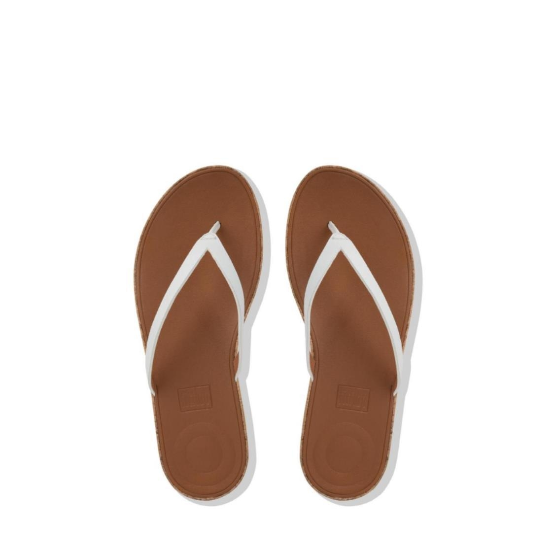 Linny Leather Toe-Thong Sandals Urban White