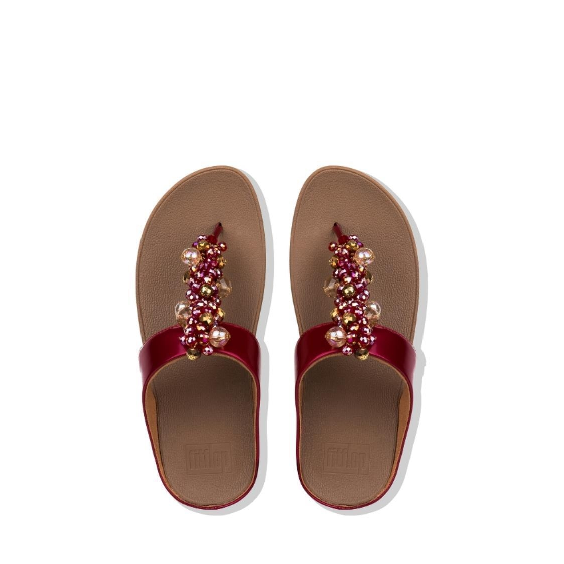 Deco Pearlised Patent Toe-Thongs Fire Red