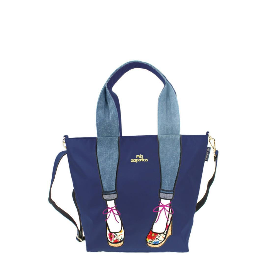 2-Way Use Jeans with Wedges Totebag Navy