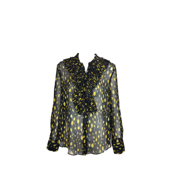 NS Boutique Printed Ruffles Blouse Yellow