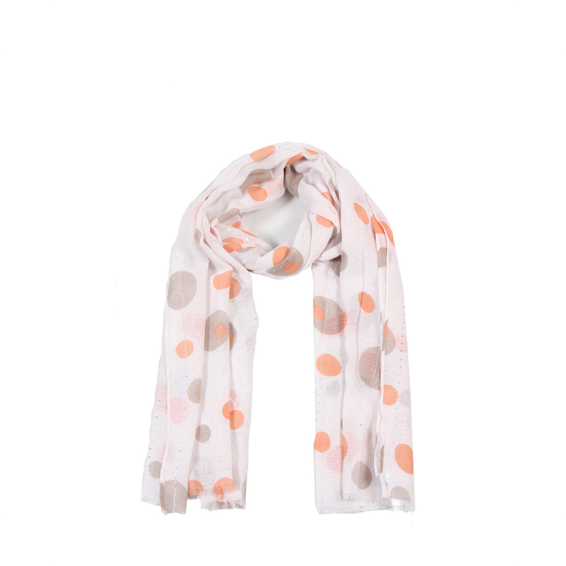 Light Pink Polka Cotton Blend Scarf