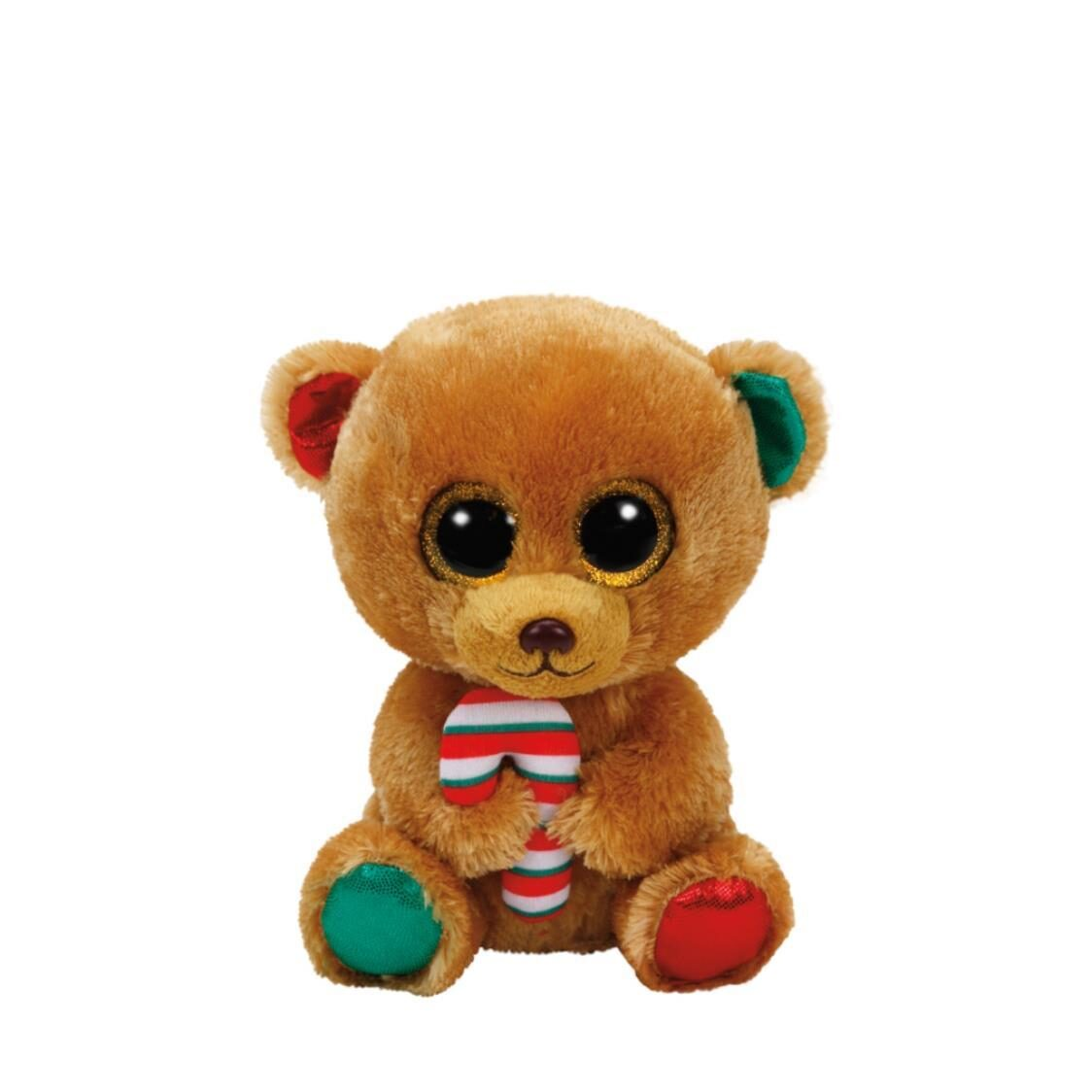 Beanie Boos Bella Brown Bear with Candy Cane Reg