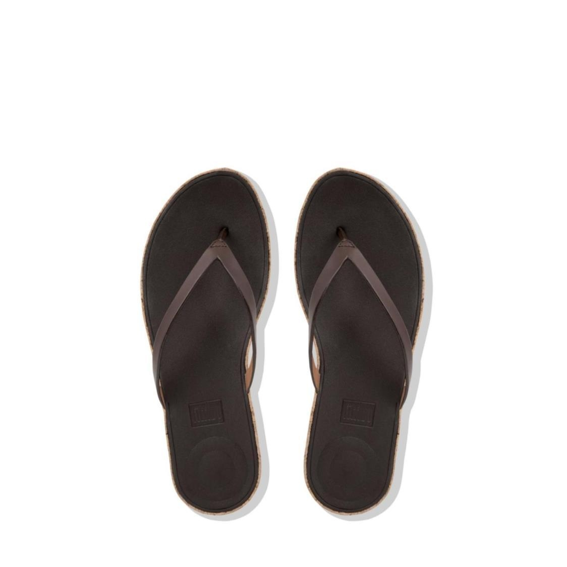 Linny Leather Toe-Thong Sandals Espresso