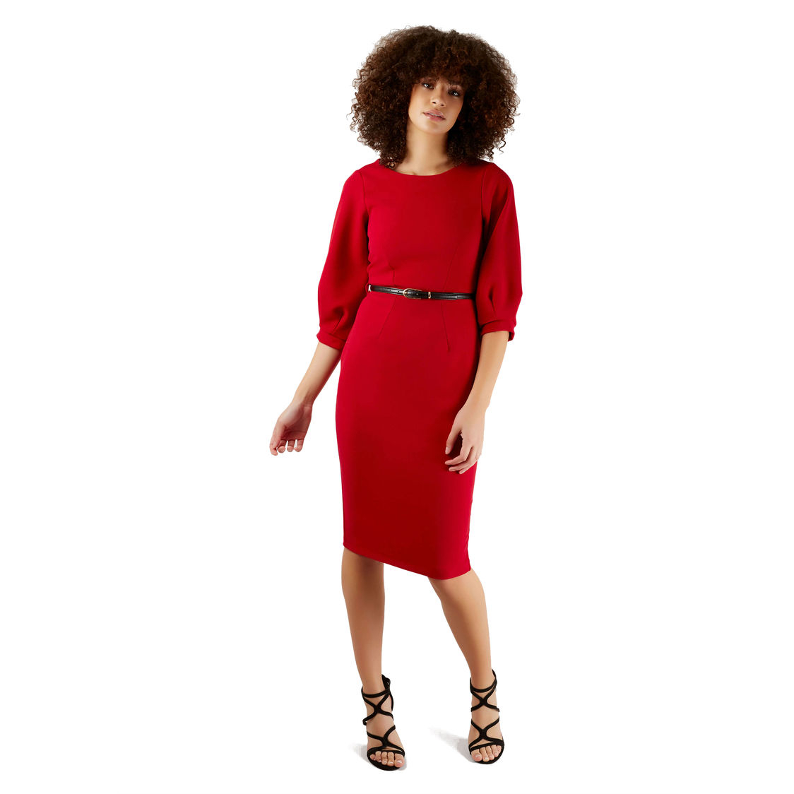 Red Pleated Sleeve Pencil Dress