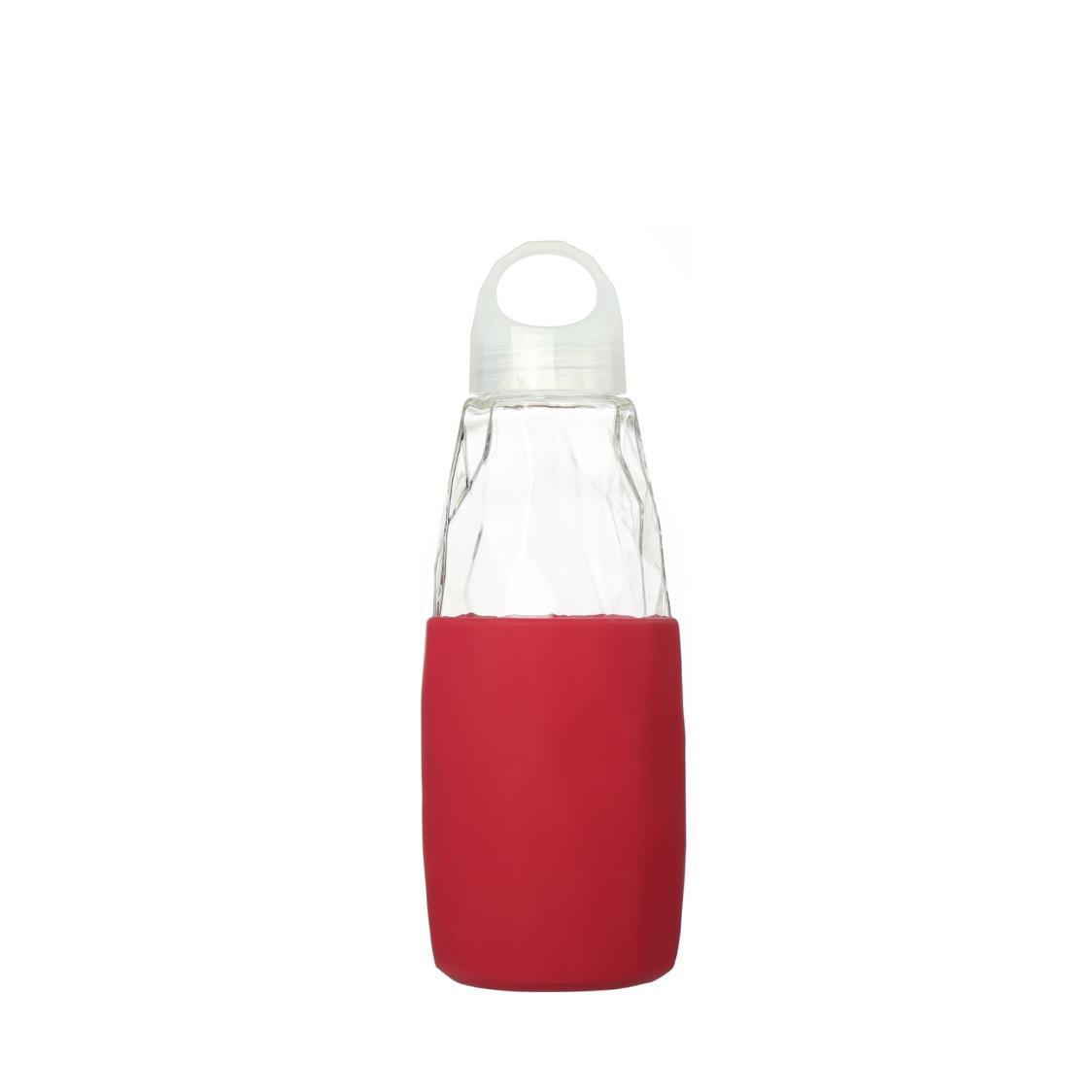 Prism Glass Water Bottle Red 560ml
