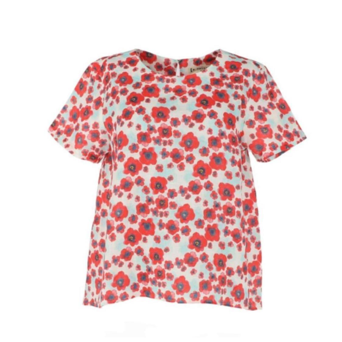 Short Sleeve Floral Printed Linen Top