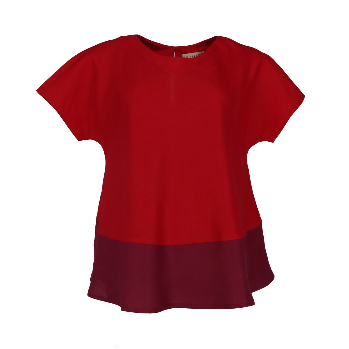 Colour Block Flare Linen Top in Red
