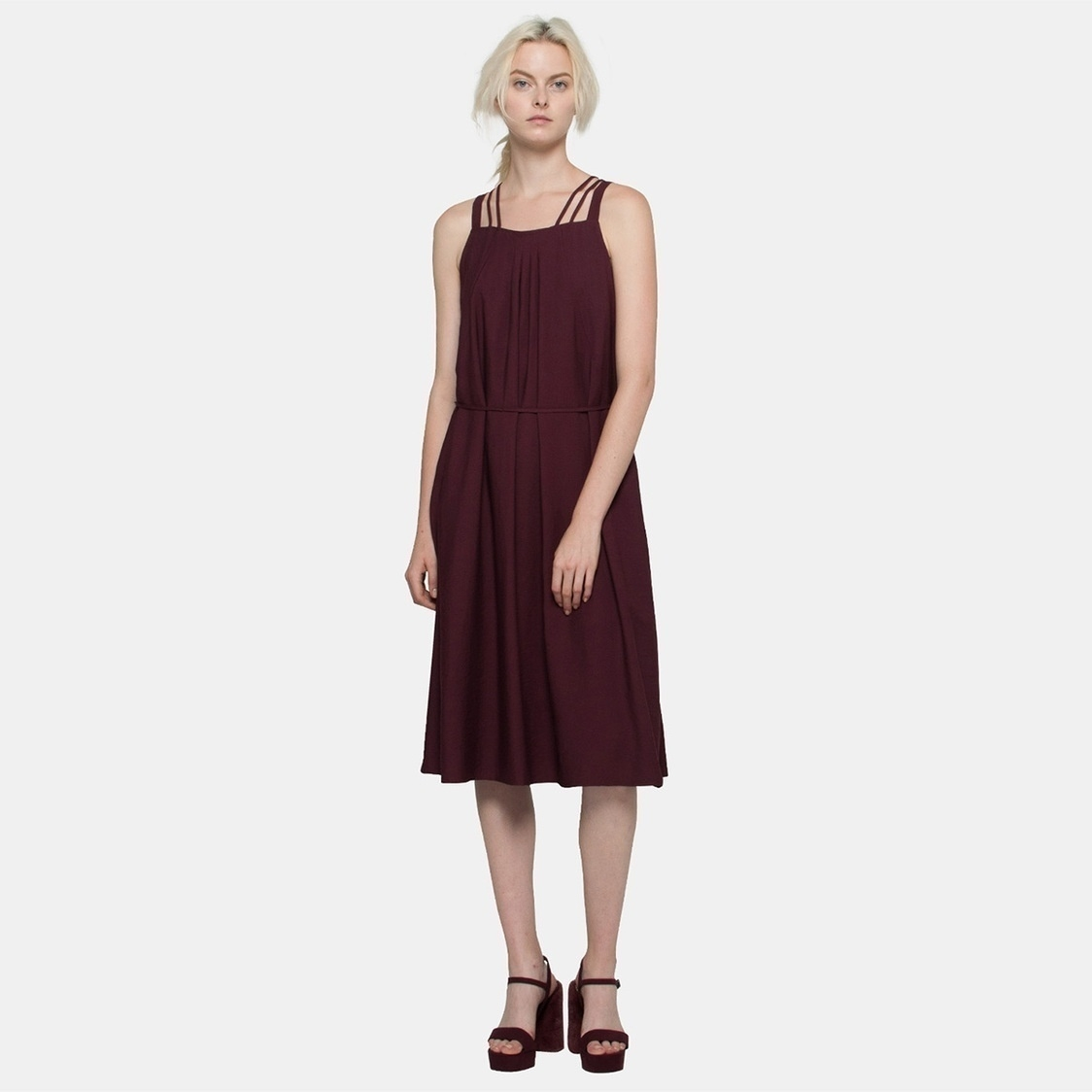 Textured Cami Midi in Wine Red