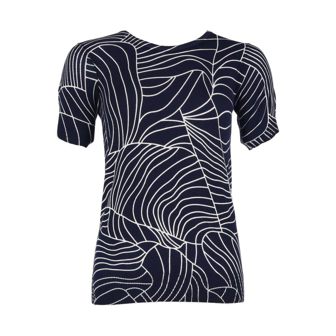 Navy Printed Short Sleeve Knitted Top