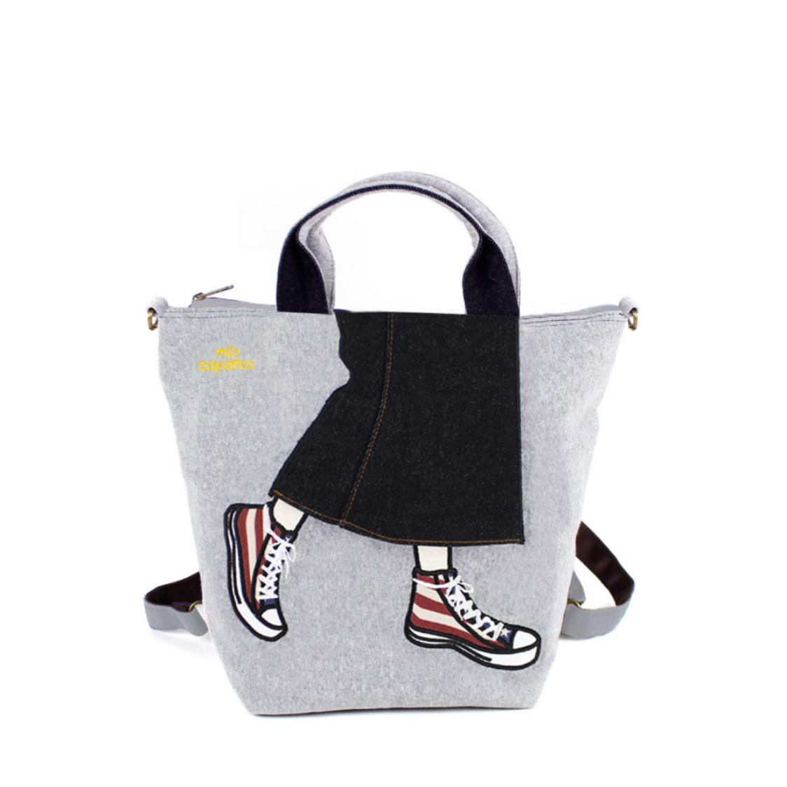 3-Way Use Jeans Skirt with Sneakers Handbag Grey